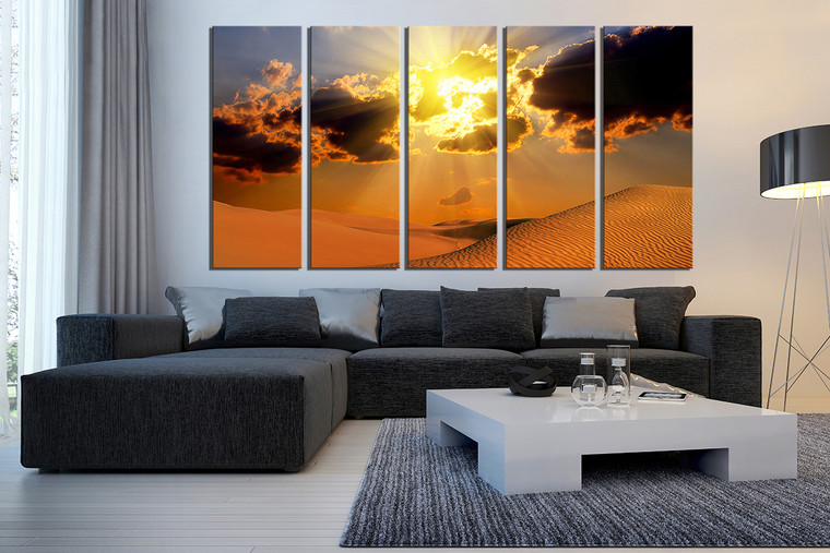 5 piece wall decor landscape canvas print desert huge canvas art orange canvas art prints. Black Bedroom Furniture Sets. Home Design Ideas