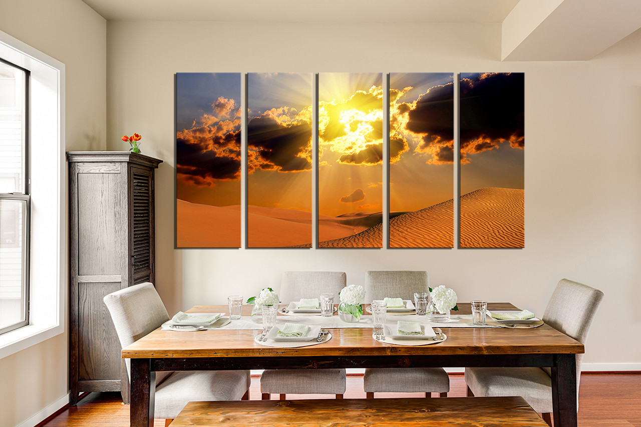 5 Piece Wall Art, Dining Room Group Canvas, Landscape Multi Panel Canvas,  Desert