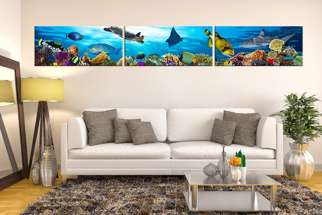 3 Piece Canvas Photography, Living Room Canvas Wall Art, Blue Decor, Turtle  Multi Part 41