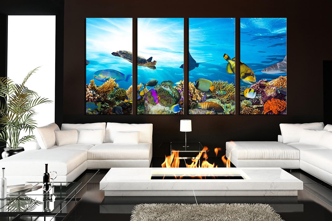 4 Piece Canvas Print Living Room Wall Art Blue Artwork Turtle Multi