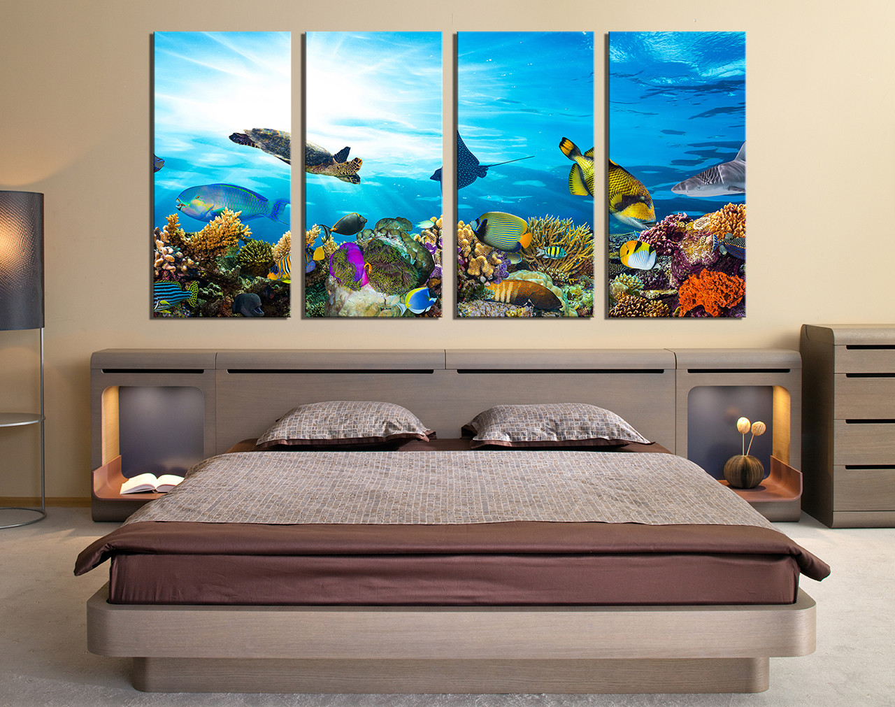 Turtle Wall Decor 4 piece canvas wall art, turtle wall decor, fish huge canvas print