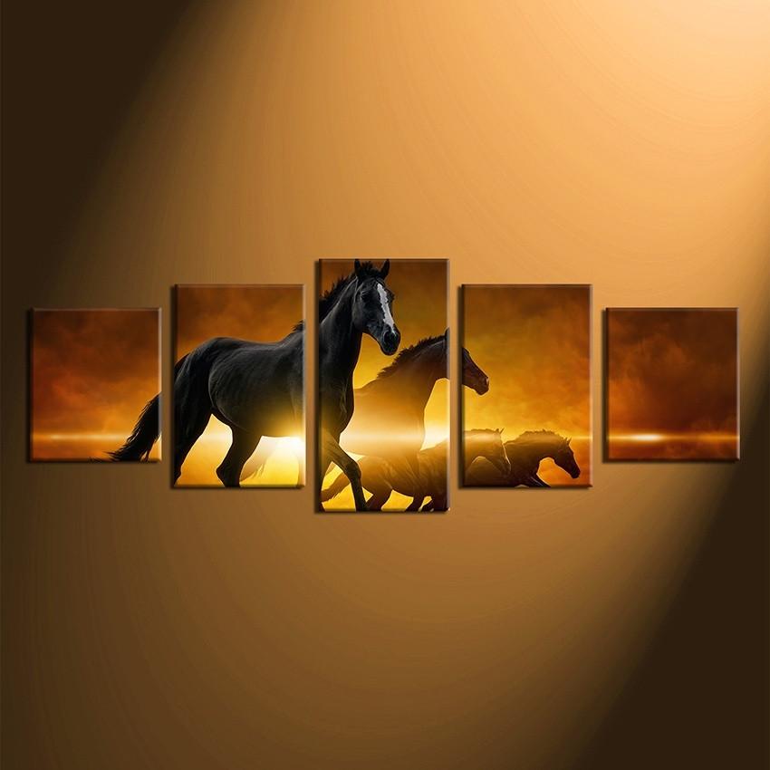 5 Piece Wall Art, Panoramic Photo Canvas, Horse Artwork, Brown Multi ...