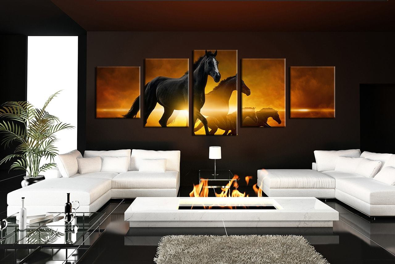 5 Piece Canvas Photography Living Room Print Horse Wall Art Wildlife
