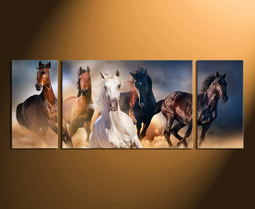 3 Piece Canvas Wall Art, Horses Wall Decor, Panoramic Canvas ...