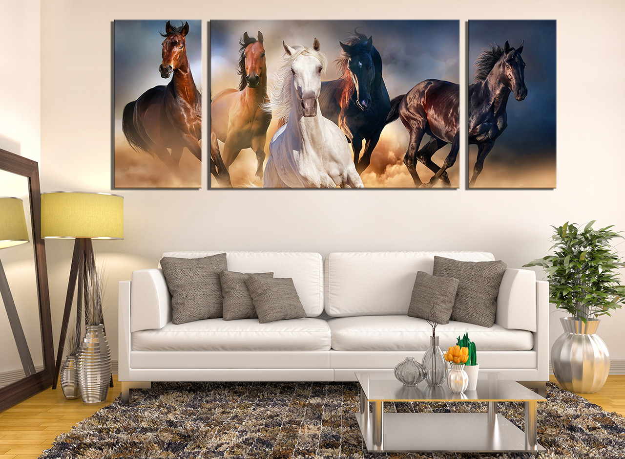 3 piece canvas wall art horses wall decor panoramic for Decoration murale one piece