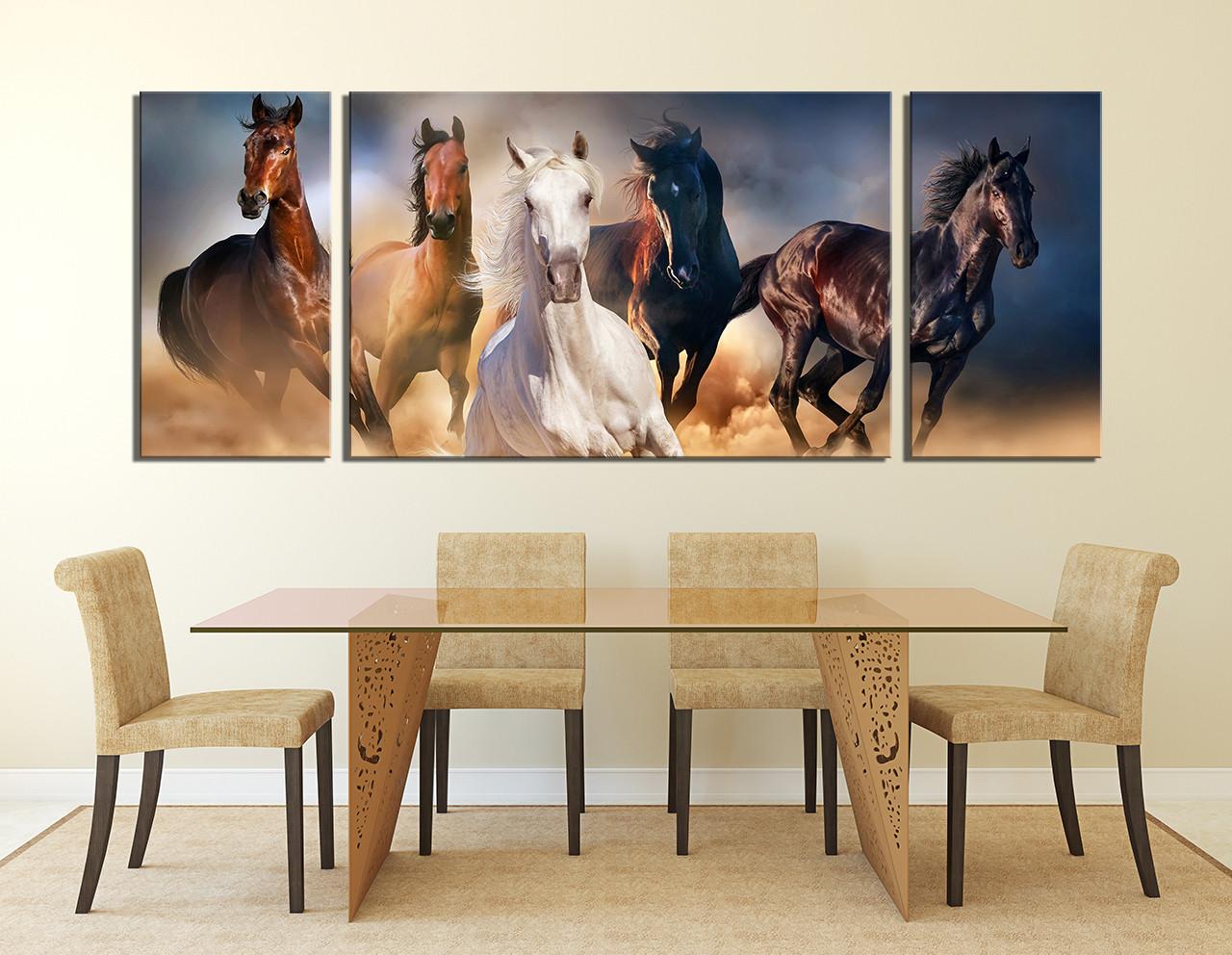 Wall Art Horses 3 piece canvas wall art, horses wall decor, panoramic canvas