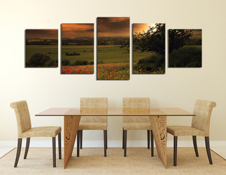 5 piece art, dining room multi panel art, scenery canvas photography, green wall decor, sunrise large canvas, panoramic artwork