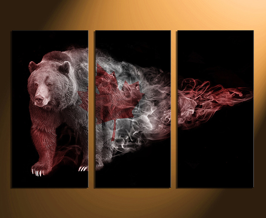 3 Piece Large Canvas, Home Decor, Bear Multi Panel Art, Wildlife Group  Canvas