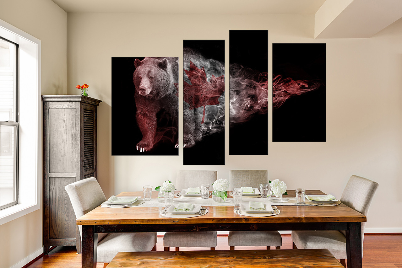Bear Wall Art 4 piece multi panel canvas, bear canvas photography, wildlife