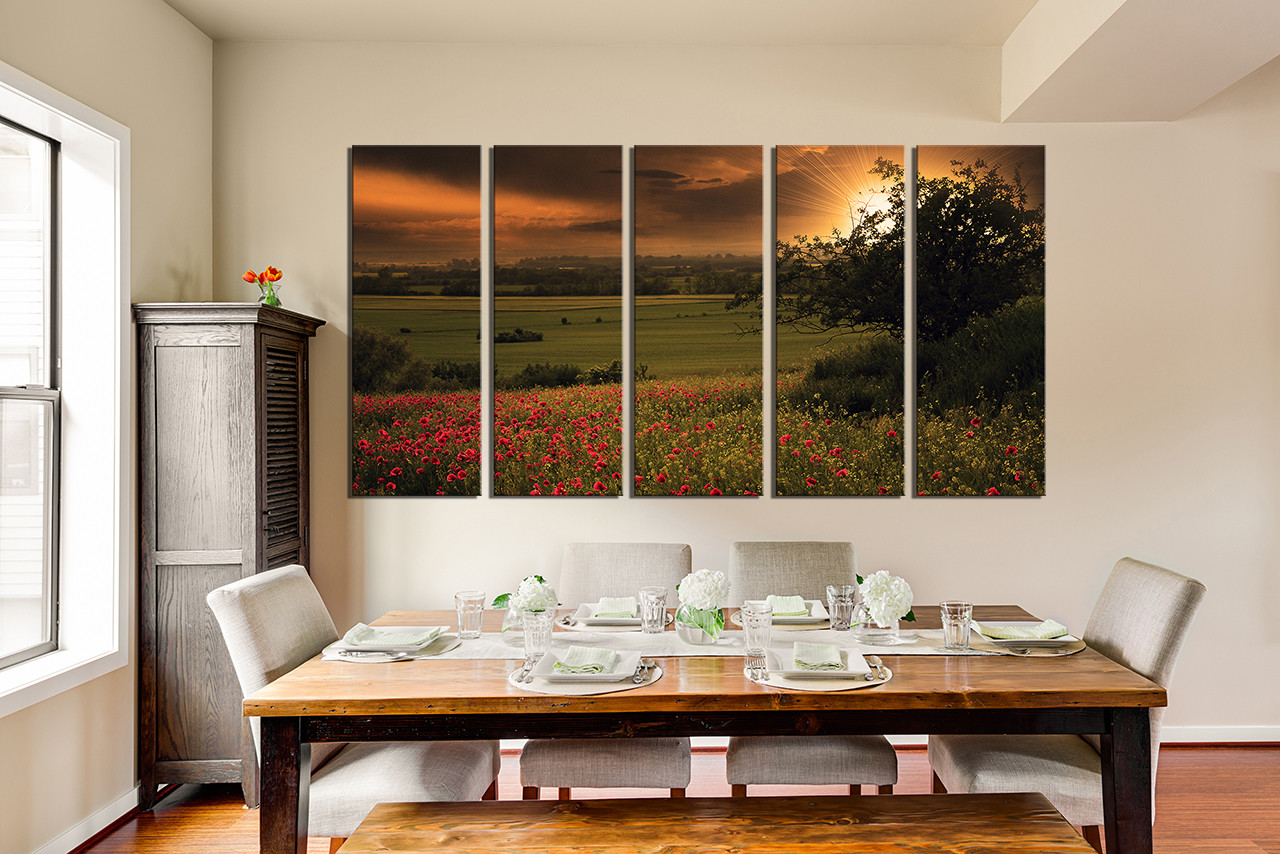 5 Piece Huge Canvas Print, Scenery Huge Pictures, Green Wall Decor ...