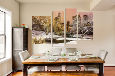4 piece large canvas, scenery group canvas, city photo canvas, dining room art, snow art