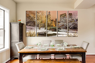 5 piece canvas wall art, scenery wall art, city wall decor, dining canvas print, snow huge canvas print