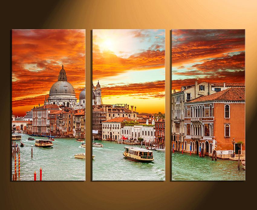 3 Piece Multi Panel Canvas, Orange Huge Canvas Print, Venice Canvas ...