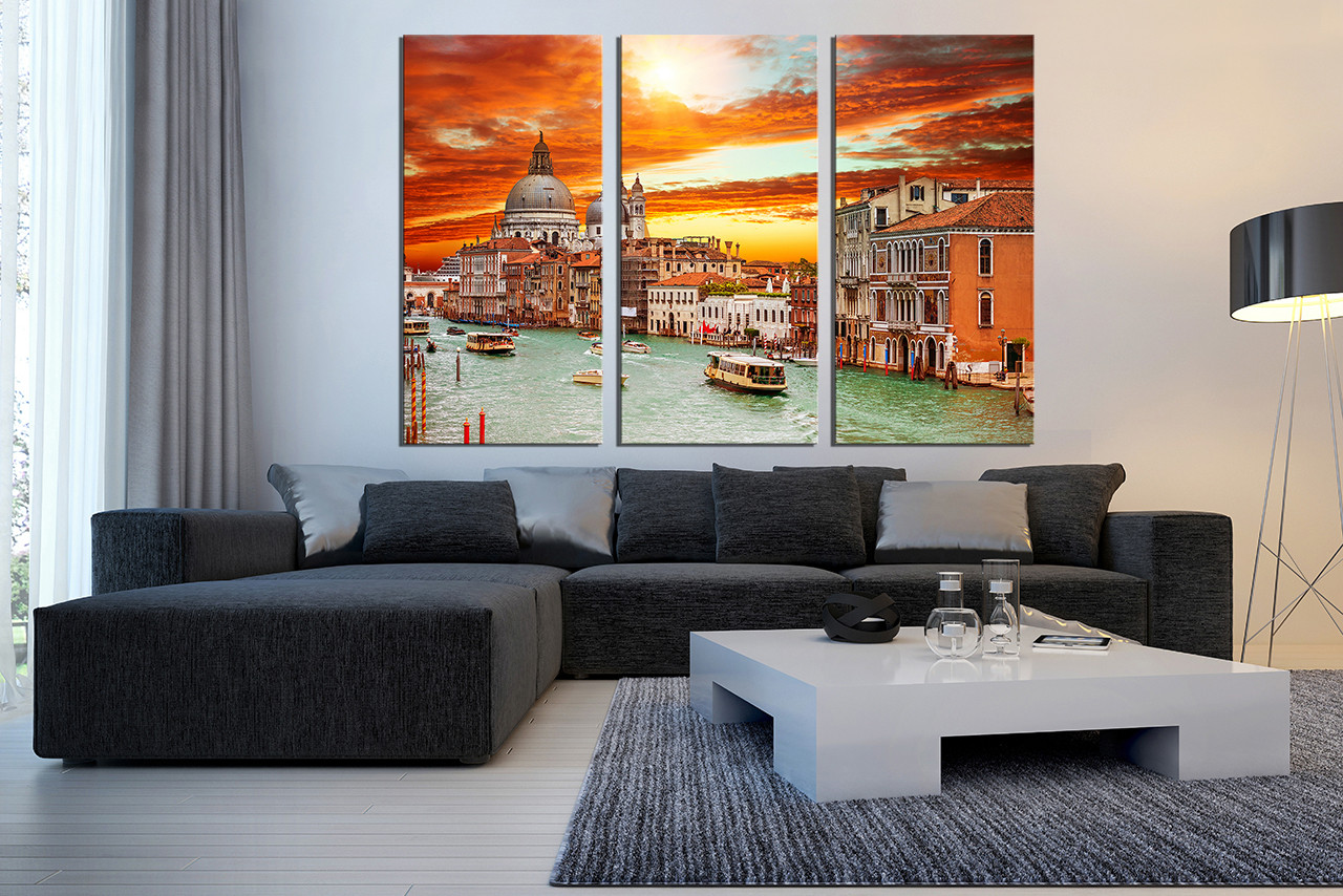 Large Paintings For Living Room 3 Piece Multi Panel Canvas Orange Huge Canvas Print Venice