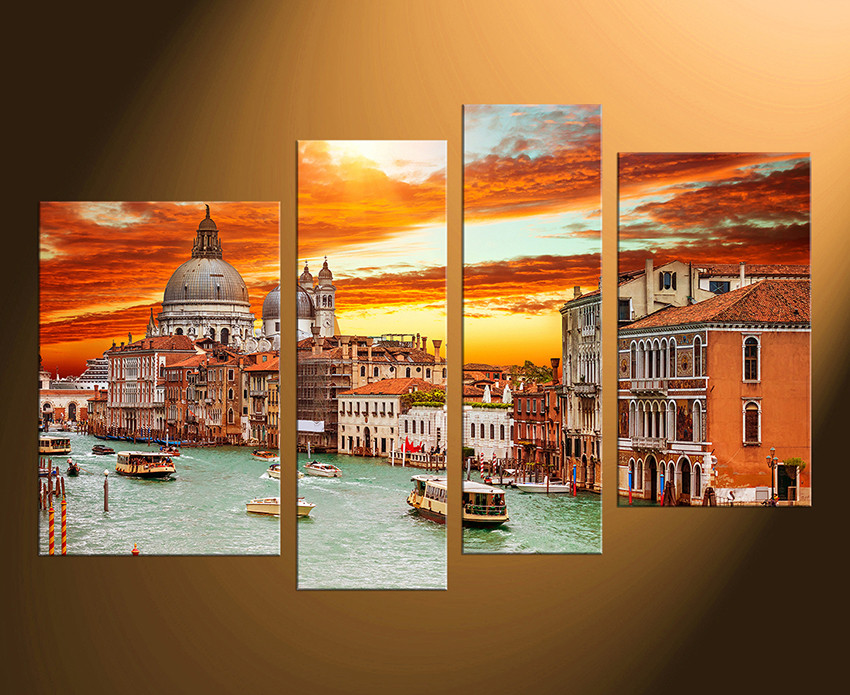 4 piece canvas wall art gondola wall art city wall decor orange huge