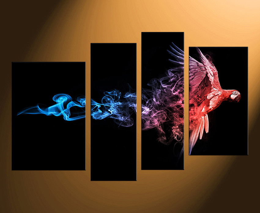 4 Piece Canvas Photography, Parrot Huge Canvas Print, Red Large ...