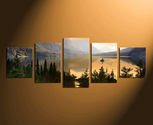 5 piece canvas wall art, home decor, landscape large pictures, green artwork, scenery canvas art prints, panoramic canvas photography