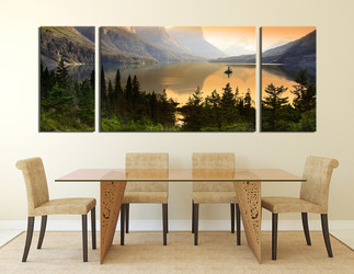 3 piece wall decor, dining room canvas photography, scenery multi panel canvas, mountain large pictures, landscape artwork, green nature art