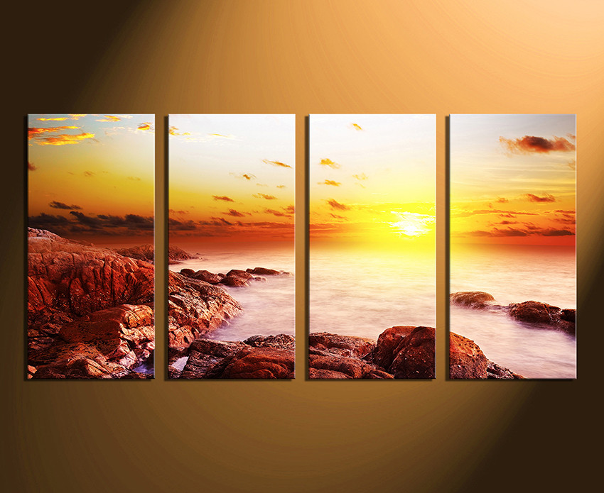4 Piece Canvas Wall Art, Sunrise Artwork, Ocean Multi Panel Canvas ...