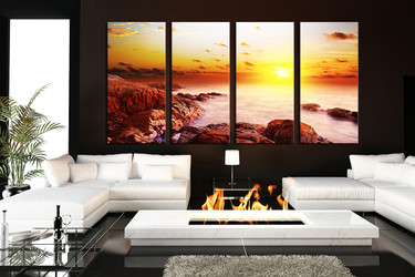 4 piece multi panel canvas, living room canvas art prints, yellow sun canvas photography, ocean group canvas
