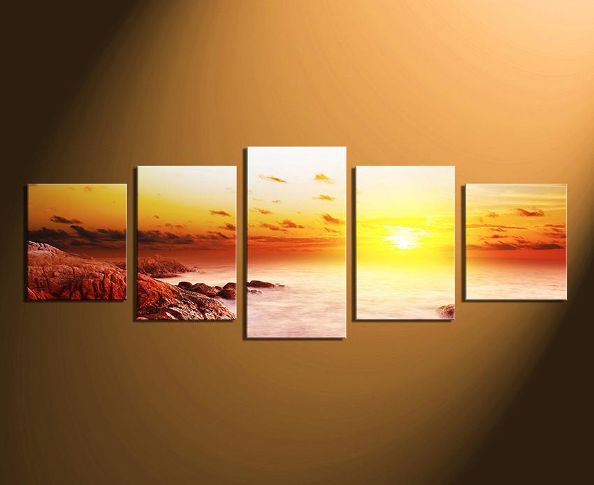 5 Piece Canvas Print, Ocean Large Pictures, Orange Sea Multi Panel ...
