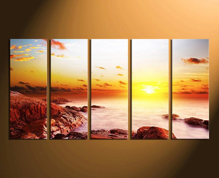 5 Piece Huge Canvas Art, Sunrise Large Pictures, Ocean Canvas ...