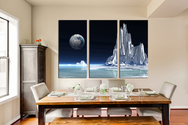 3 piece artwork, dining room photo canvas, landscape wall decor, white multi panel canvas, earth huge canvas art