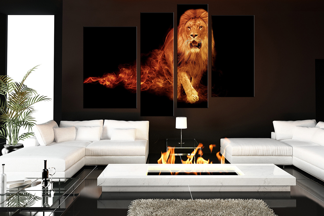 Charming 4 Piece Canvas Wall Art, Living Room Huge Pictures, Lion Multi Panel Art,
