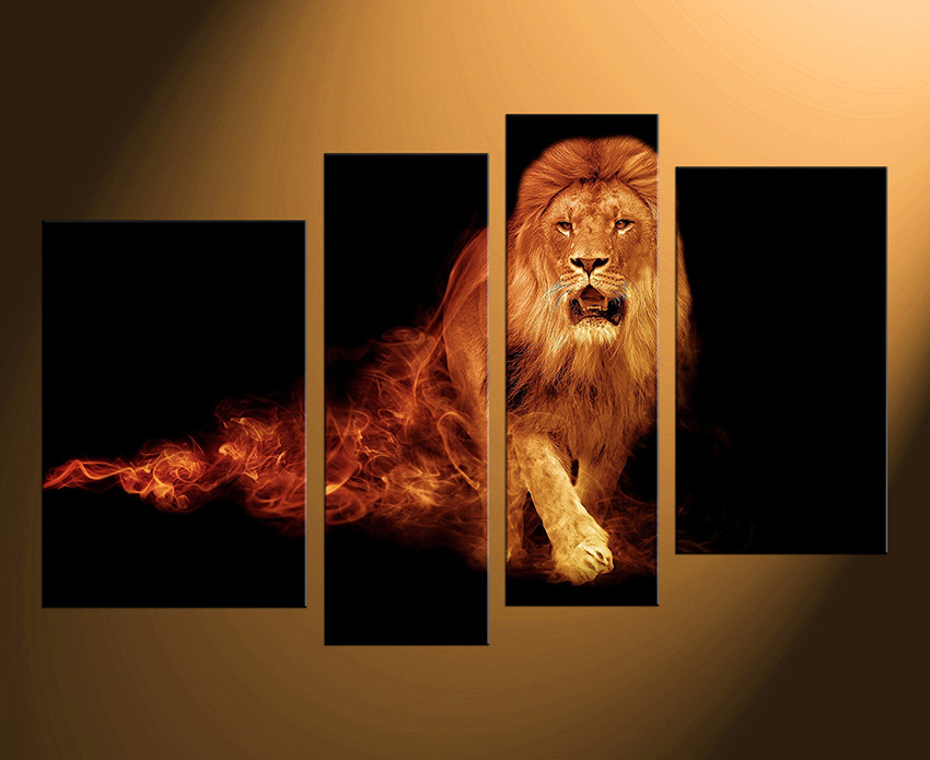 4 Piece Photo Canvas, Home Decor, Lion Wall Art, Home Decor, Animal