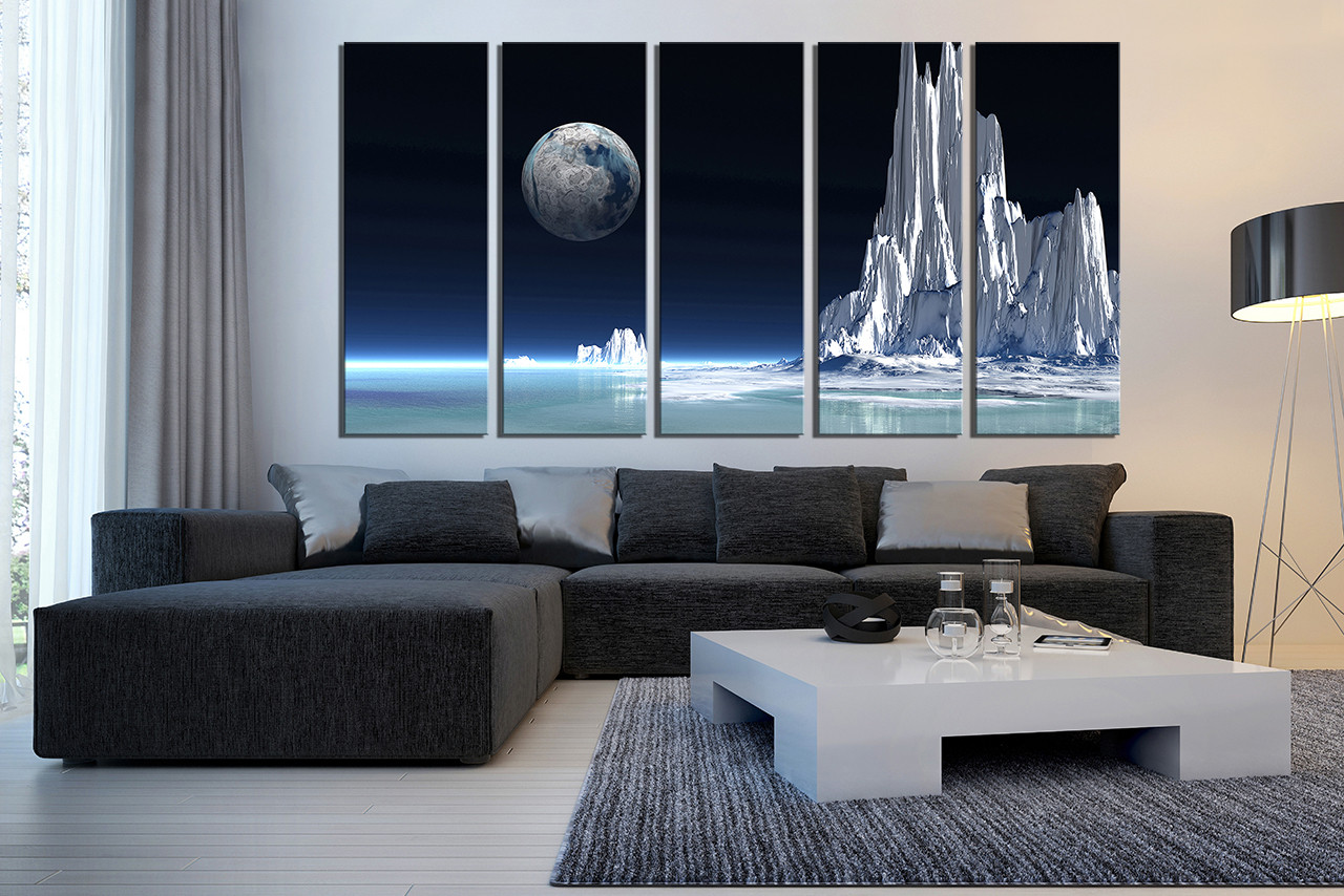 Attractive 5 Piece Canvas Print, Living Room Wall Art, Landscape Large Canvas, White  Multi