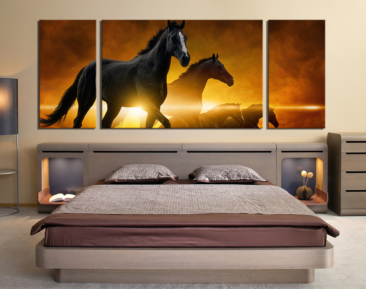 3 piece multi panel canvas panoramic canvas art prints for Horse bedroom decor