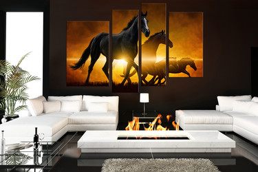4 piece canvas photography, living room canvas print, black horse wall decor, wildlife canvas photography