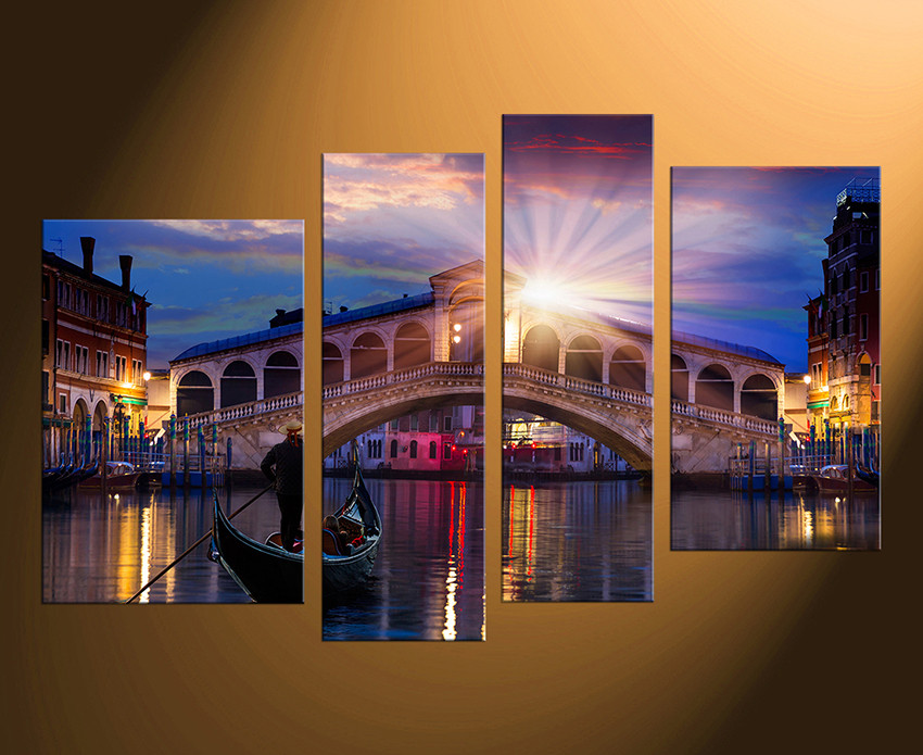 4 Piece Canvas Wall Art, Venice Bridge Canvas Photography, Gondola ...