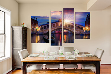4 Piece Huge Pictures, Dining Room Canvas Wall Art, Sunrise Group Canvas,  City