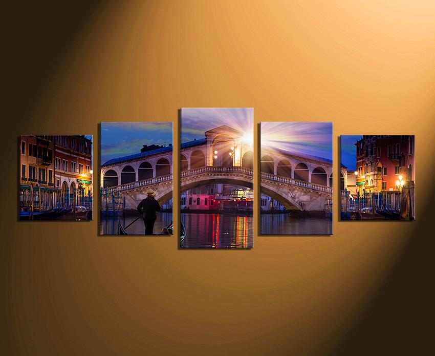 5 Piece Wall Art, Venice Bridge Canvas Photography, Panoramic Art ...