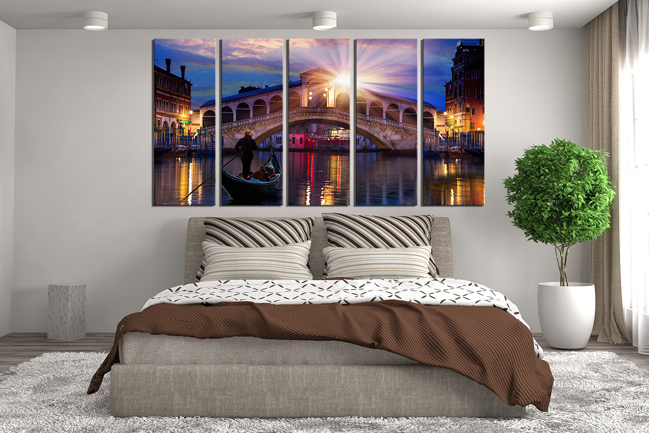 Cityscape Wall Art 5 piece wall decor, panoramic canvas print, cityscape wall decor