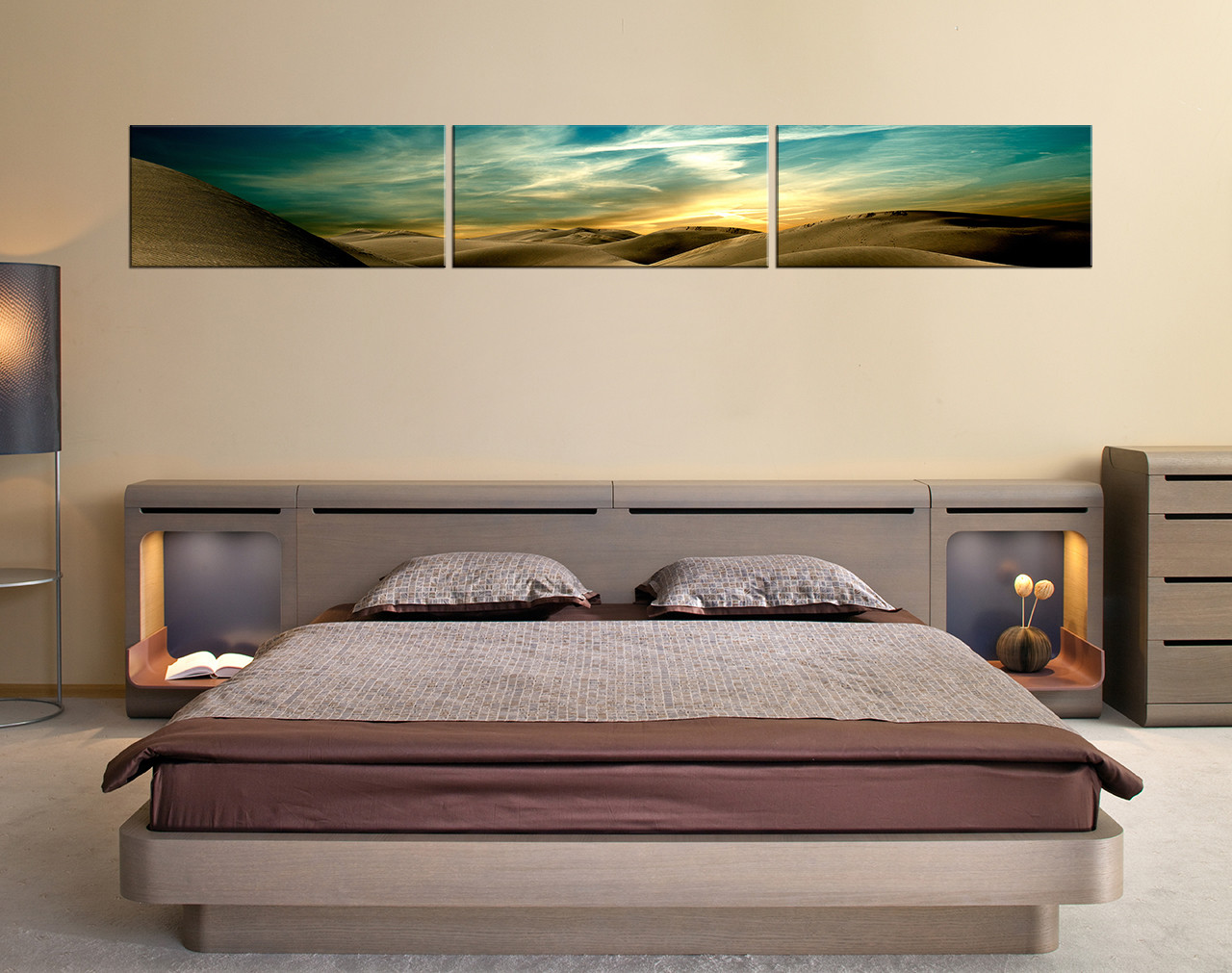3 Piece Canvas Wall Art Landscape Wall Decor Green Huge Canvas Print Desert Multi Panel