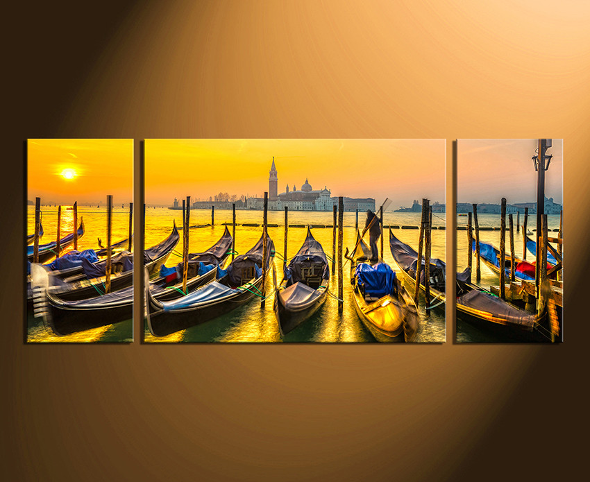 3 Piece Huge Canvas Art, Panoramic Photo Canvas, Cityscape Wall ...