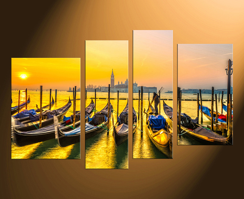 4 Piece Huge Canvas Print, Cityscape Multi Panel Canvas, Yellow Wall ...
