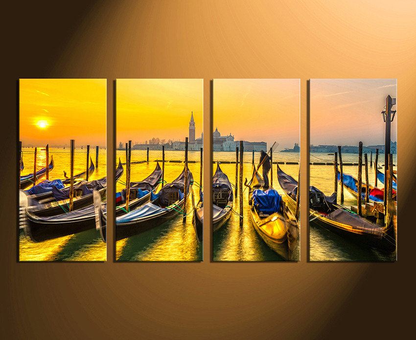 4 Piece Group Canvas, Boat Multi Panel Canvas, Ocean Huge Canvas ...