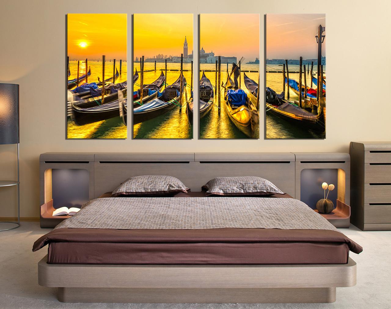 Bedroom Canvas Prints 4 piece group canvas, boat multi panel canvas, ocean huge canvas