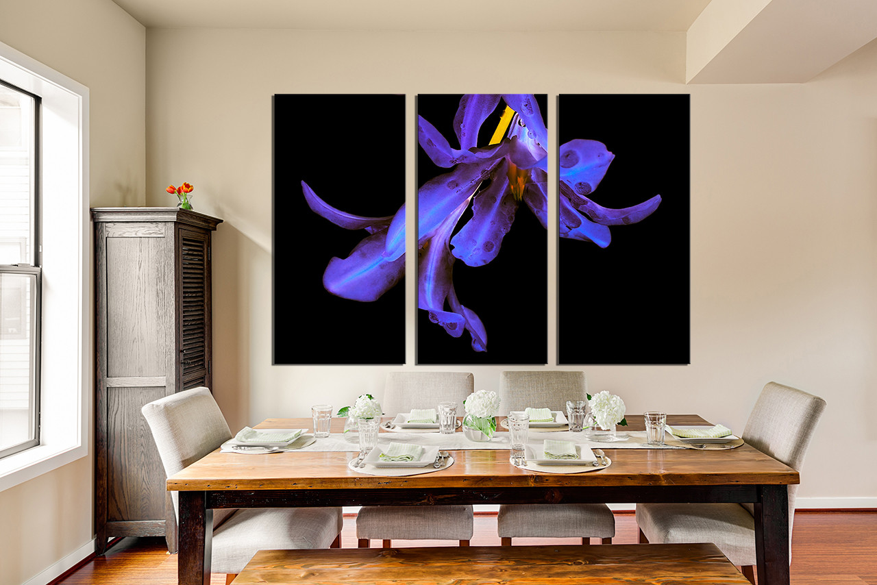 3 piece canvas wall art floral canvas photography purple for Purple dining room wall art