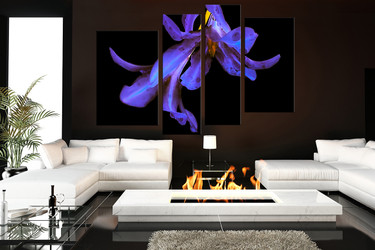 4 piece canvas wall art, living room wall art,  flower canvas art print, purple photo canvas, floral large canvas