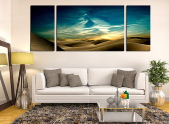 3 piece artwork, living room huge canvas print, landscape large canvas, green canvas huge pictures, desert multi panel canvas, panoramic art