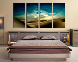 4 piece huge canvas print, bedroom large pictures, landscape art, green large canvas, desert multi panel canvas, sky artwork