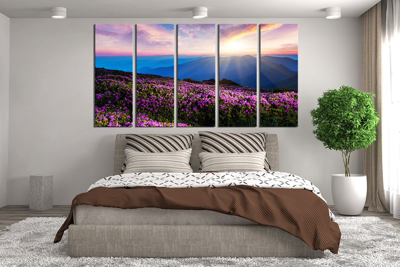 Purple Canvas Wall Art 5 piece artwork, landscape huge canvas print, purple large
