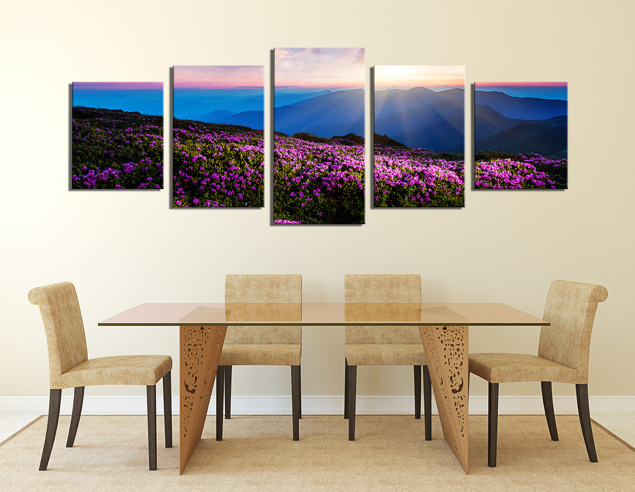 5 Piece Canvas Art Prints, Dining Room Photo Canvas, Landscape Large  Canvas, Purple