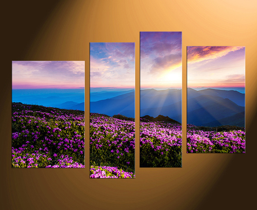 4 Piece Wall Art 4 piece huge pictures, landscape artwork, purple group canvas