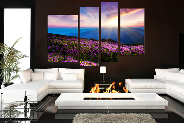 4 piece huge canvas art, living room huge pictures, purple large canvas, sunset artwork, floral multi panel canvas, scenery art