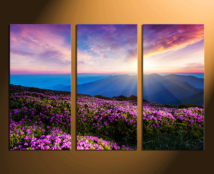 Purple Canvas Wall Art 3 piece canvas wall art, landscape wall decor, purple huge canvas